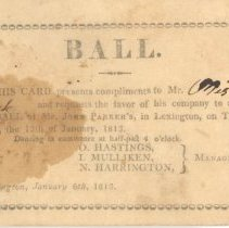 Image of Ball Invitation for January 6, 1813 - 13116-23