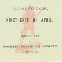 Image of Admittance Card for Breakfast at Massachusetts House on April 19, 1890 - 13116-29