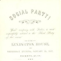 Image of Invitation to Social Party at the Lexington House on January 28, 1857 - 13116-33-2