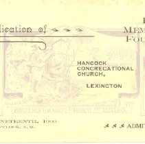 Image of Admittance Card for Dedication of the Hayes Memorial Fountain at Hancock Congregational Church on Aprl 19, 1900 - 13116-35