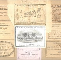 Image of Board Collage of Admittance Cards and Tickets from 1814-1861 - 13116-50