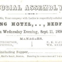 Image of Invitation to Social Assembly at Spring Hotel in Bedford on September 11, 1856 - 13116-5-3