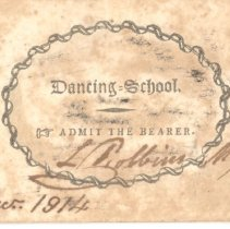 Image of Admittance Card to Dancing School from December 1914   - 13116-9