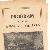 Image of Program for Lexington Park Theater on August 16, 1915 - 2016.021