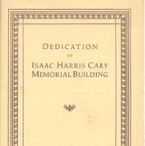 Image of Program for the Dedication of Isaac Harris Cary Memorial Building on October 18, 1928 - 6139-1