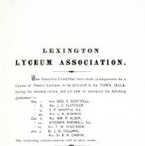 Image of Handbill for Lexington Lyceum Association Lectures in 1867 - 3185