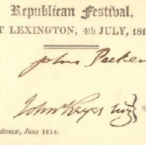 Image of Admittance Card for Republican Festival on July 4, 1814 - 6858-1