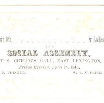 Image of Admittance Card for Social Assembly at S. Cutler's Hall on April 18, 1845 - 6934-3