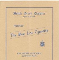 "Image of Program for the Battle Green Chapter's ""The Blue Line Cigarette"" in November 1937 - 13454"