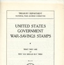 "Image of ""United States Government War-Savings Stamps"" Booklet - 13654"