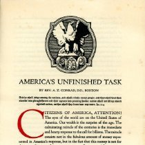 "Image of ""America's Unfinished Task"" Handbill - 13723"