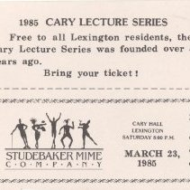 Image of Ticket Sheet for 1985 Cary Lecture Series - 13819
