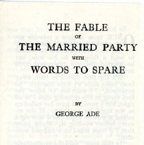"Image of ""The Fable of the Married Party with Words to Spare"" by George Ade - 13659-4"