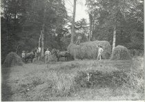 Image of Unidentified men with loaded horse-drawn hay wagon