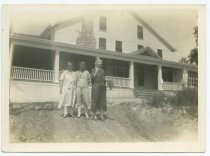 """Image of Mary """"Dell"""" Martin and others at Gus Biel's farm, ca. 1922 - Houses Dwellings Farmhouses Porches Women Older people"""
