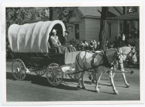 Image of Covered wagon in the New Albany Sesquicentennial Parade, New Albany, Ind., 1963 - Centennial celebrations Parades & processions Horses Carts & wagons