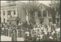 Image of Log cabin church float in the Centennial parade, New Albany, Ind., 1913 - Centennial celebrations Parades & processions Floats Churches Methodist churches