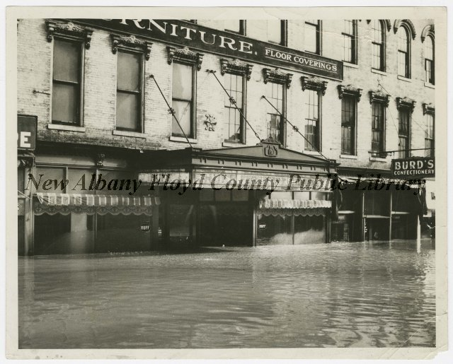 Huff Furniture Co During New Albany Ind Flood 1937 Floods