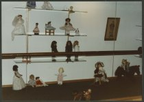 Image of Doll display at NAFCPL in New Albany, Ind. 1985 - Dolls
