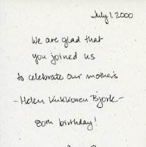 Image of Helen Bjork, 80th birthday invitation
