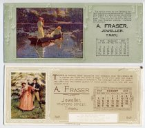 Image of Blotter - Rectangular paper blotters with advertising for Frasers Jewellers Timaru and a calender for a month on the front. The paper on the back is blotting paper used to absorb wet ink after writing with a fountain pen to prevent smudging. the blotting paper is mostly pink with some being blue. Each blotter has a picture usually of a historical theme, the calender for that month, an advertising feature from watches for the boys at the front to silverware for a Christmas present to friendship in business as well as details of Frasers Jewellery shop.  There are 36 blotters