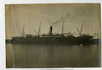 """Image of The """"Corinthic"""" 12231 tons at the wharf Timaru Aug 7. 1906 -"""