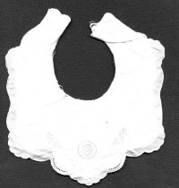 Image of Bib - Baby's bib made from white cotton and embroidered. The bib has a fine cotton separate top layer over double cotton layer. The top layer has a scalloped edge and the embroidery of butterfly and circle etc is most likely to be machined . Fastens with a small white mother of pearl button and loop at the back.
