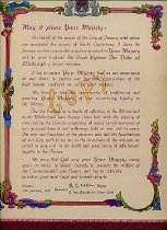 Image of Address, Illuminated - Red folder with copy of the illuminated address given to Queen Elizabeth II on her visit to Timaru in January 1954.  Description of the original in newspaper article January 13 1954: address bound in rich red morrocco leather embossed with 24 carat gold sprays of kowhai and clematis and kiwi in each corner -in lower corners Union Jack and New Zealand ensign, two globes - one with United Kingdom and other showing NZ. The title page of goatskin parchment with delicately drawn picture of Mount Cook at the top and Caroline Bay at the bottom. Down each edge are pictures of native birds and plants - fantail,pigeon, bellbird, kingfisher, tui, kea, morepork and pukeko,  fushia, Mt Cook lily, clematis, totara and native ferns - all reproduced in the most exacting detail with meticulous attention paid to shape, colour and habitat.  Mr Harvey made special trip to Mt Cook to sketch from the best angle and done in coloured Indian inks with pen and brush.  Mr Harvey chosen as known as ivory carver and was to be commissioned to make small crown for the cover - on visit other artwork seen so Mr Harvey commissioned to do that as well. Made some sketches but once the one was chosen referred to only for colouring details.  As this is the copy it may not be real leater or gold.