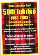 Image of Timaru Ladies Pipe Band 50th jubilee, 1953-2003 : celebrations in Timaru, Queens Birthday weekend.   - Leslie, Pam