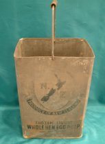 Image of Bucket - Old tin which has cut open  at the top and handle added to make a bucket.  