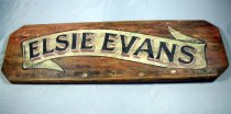 "Image of Board, Name - Kauri name plate from the outer skin of the pilot boat ""Elsie Evans"".