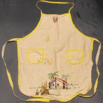 Image of Apron - Hand embroidered child's apron. Cream cotton apron is bound all around the edge with yellow bias binding. Two pockets are also bound in yellow. The binding continues for the neck loop and the waist ties are cotton white binding stitched on top.