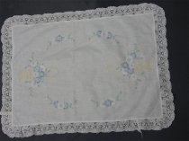 Image of Antimacassar - Oblong white embroidered cotton antimacassar.