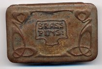 "Image of Box, Pin - Small rectangular metal tin for pins. The hinged lid has an embossed art nouveau design and ""Brass Pins:"""