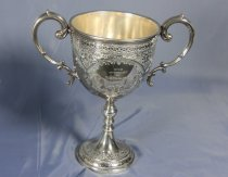 Image of Trophy - Large silver trophy cup with lid.