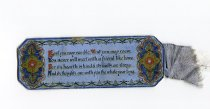 Image of Bookmark - Bookmark in blue cardboard with decorative script. There is a decorative border around the bookmark. A ribbon is attached to one end.