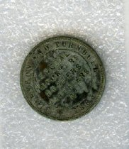 """Image of Token, Store - Obverse: """"Clarkson and Turnbull 1865, General Importers, Drapers, Clothiers"""" Reverse: """"New Zealand Timaru"""" with an image in the centre that is well worn, possibly of a sailboat."""