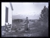 Image of [Mrs Allan feeding turkeys, Clayton Station] - Clayton Station Collection