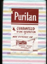 """Image of Sheet - Pair of striped cotton sheets.  Stripes are in colours of yellow, blue, pink, green and purple. Paper label attached to sheet states:  """"Puritan Guaranteed to give satisfaction. Made expressly for McGruer Davies Department  Store Timaru.""""  Sheets are unused."""