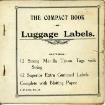 "Image of Label - Cream booklet with printed on the cover ""A compact book of luggage labels. 12 Strong Manilla Tie-on Tags with String. 12 Superior Extra Gummed labels Complete with Blotting Paper""