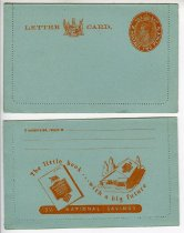 """Image of Letter - Four light blue letter card with printed stamp in red tones of King George VI and N.Z postage two pence and New Zealand coat of arms and """"Lettercard"""".  On the back is """" if undelivered return to sender"""" and space for senders name and address. Also in red is the logo and advertisement for national savings scheme. Perforated line just in from edge to open letter once sealed."""