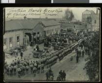 Image of Trentham Band's Reception at Railway Station Timaru -
