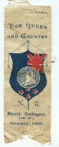"""Image of Ribbon, Commemorative - The white satin ribbon reads  """"For Queen/And Country./N.Z./Second Contingent./January, 1900"""".  In the middle of the ribbon, there is a picture of Queen Victoria facing left in the centre of a blue shield representing the New Zealand flag.  The top of the ribbon reads """"copyright."""""""