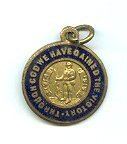 "Image of Medal, Commemorative - Medallion to commemorate the end of World War One. Obverse: The centre shows a soldier leaning on a rifle, flanked by the words ""1914"" and ""1919"" in a scroll. The outer circle has navy-blue enamel background with words written in gold ""THROUGH GOD WE HAVE GAINED THE VICTORY*"".
