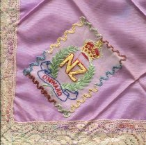 Image of Handkerchief - Square mauve taffeta souvenir handkerchief.
