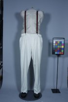Image of Trousers - Pair of men's white cricket trousers. Fabric white cotton twill.