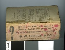 """Image of Book, School - Little booklet containing Spelling lists of English words, also Latin and Greek Roots and Prefixes.  The back pages are blotters and the last page has advertising by P W Hutton and Co which reads """"Why have your music lying about in a dilapidated condition when you can have it bound in a neat & durable style at a moderate costing our factory P W Hutton &Co booksellers and manufacturing stationers Timaru""""."""