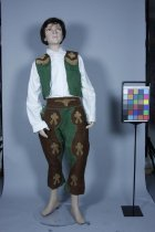 Image of Costume - Child's cowboy costume. Fabric: Green and brown hessian with leather trim.