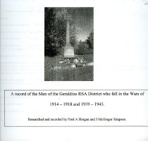 Image of A record of men of the Geraldine RSA District who fell in the wars of 1914-1918 and 1939-1945 - Horgan, Noel A