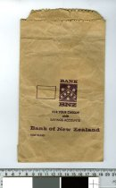 """Image of Bag, Deposit - Brown thick paper bag for Bank of New Zealand.  Printed on the bag is """"Bank BNZ for you cheque and savings accounts Bank of New Zealand"""""""""""